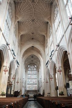 Inside cathedral in Bath England