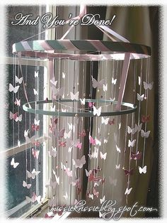 DIY::How to make a Shabby Chic Ribbon Butterfly  Chandelier