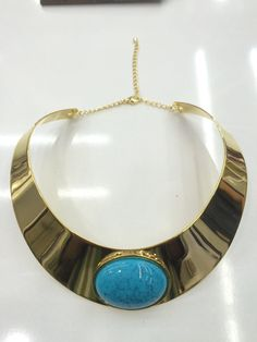 Turquoise Gold Plated Choker Necklace by LazStore on Etsy