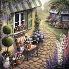 A humming bird approaches inviting flowers while another bird rests on the arm of a chair. A white watering can sits next to a green topiary and a stone walkway leads past the gard Outdoor Walkway, Stone Walkway, Outdoor Decor, Image Nature, Images Gif, Cottage Art, Cute Paintings, Art Pictures, Photos