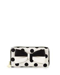 Betsey Johnson Gift Me Baby Bow Polka-Dot Wallet-On-String, Cream/Black