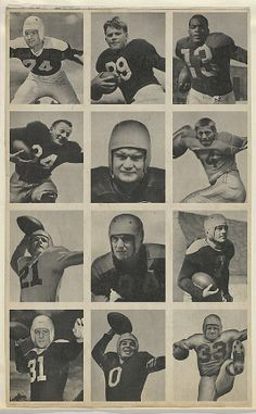 Issued by Bowman Gum Company. Sheet of 12 uncut football cards, from the Bowman Football series (R407-1) issued by Bowman Gum, 1948. The Metropolitan Museum of Art, New York. The Jefferson R. Burdick Collection, Gift of Jefferson R. Burdick (Burdick 327, R407-1.2) #MetGridironGreats