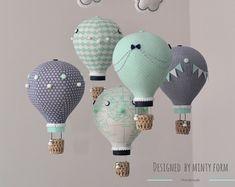 Mint Peach White Hot Air Balloon Mobile Travel Theme Nursery | Etsy