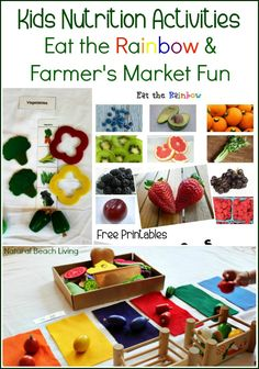 Teaching Kids to Eat Healthy with Fun Hands on Kids Nutrition Activities, Free Healthy Foods Printables Pack and a Fun Farmer's Market Scavenger Hunt