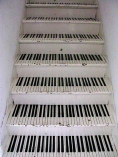 """The other day when """"Walking In Memphis"""" came on the radio I realized how much I obsess over songs with piano in them. I piano. Piano Stairs, Basement Stairs, Attic Stairs, The Piano, Piano Room, Grand Piano, Deco Originale, Stairway To Heaven, Canvases"""