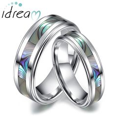 Mother of Pearl Inlaid Tungsten Wedding Bands Set for Women and Men, Unique Tungsten Carbide Wedding Ring Band - 6mm - 8mm, Matching Couple Jewelry for Him and Her