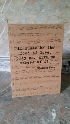 Shakespeare Music Quote Greetings Card, Vintage Style on Etsy, £2.95