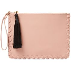 Cynthia Rowley Women's Madison Small Leather Clutch - Pink (£35) ❤ liked on Polyvore featuring bags, handbags, clutches, pink, cynthia rowley handbags, red clutches, leather tassel handbags, genuine leather handbags and pink clutches