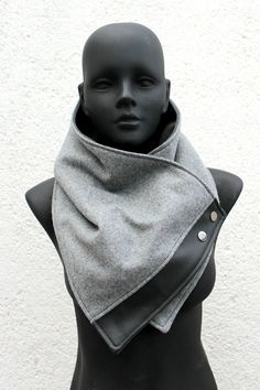 Unisex scarf. Mens and womens cowlLight grey wool with faux