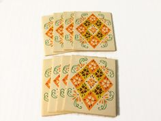 Vintage Tally Cards Heines Publishing Unused Set of 8 Orange Yellow Floral Argyle Diamond Upcycling Scrapbook Ephemera by ThriftyTheresa on Etsy https://www.etsy.com/listing/245008863/vintage-tally-cards-heines-publishing