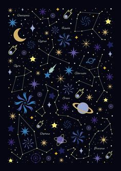Starry Night (Carly Watts: Art and Illustration) Illustration Nocturne, Abstract Illustration, Night Illustration, Graphic Illustration, Wallpaper Space, Wallpaper Backgrounds, Iphone Wallpaper, Space And Astronomy, Astronomy Stars