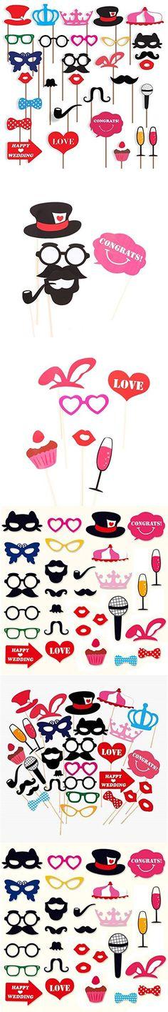SHANYA 29pcs Funny Photo Booth Props DIY Kit for Wedding Birthday Graduation Party Decorations