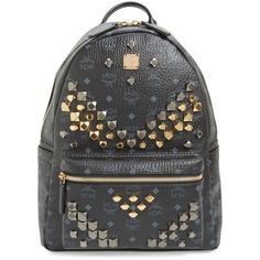 MCM 'Medium Stark - Visetos' Studded Logo Print Coated Canvas Backpack ($980) ❤ liked on Polyvore featuring bags, backpacks, black, studded backpack, black studded bag, mcm backpack, pocket bag and pocket backpack