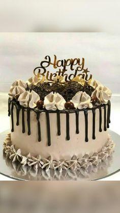Chocolate Cake Toppers, Chocolate Birthday Cake Decoration, Chocolate Oreo Cake, Birthday Cake Decorating, Chocolate Drip Cake Birthday, Elegant Birthday Cakes, Cute Birthday Cakes, Beautiful Birthday Cakes, Cake Decorating Designs