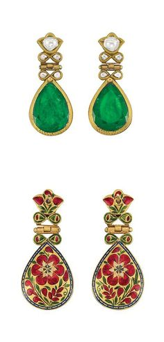 Pair of Indian Gold, Jaipur Enamel, Foiled-Back Emerald and Diamond Pendant-Earrings   18 kt., ap. 10.4 dwt.