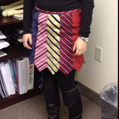 Necktie skirt following tutorial from rickrackruby. My first garment! Ties courtesy of dad.