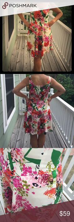 Flowered Nine West Dress Multi Colored, Flower, Nine West Dress With Two Pockets, One on Each Side. Nine West Dresses Midi