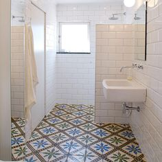 don't care for the floor but the idea of large subway tiles in white is fun.  So clean.