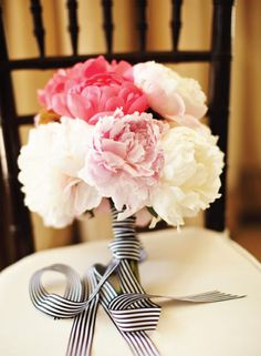 Pink and White Peonies Bridal Bouquet