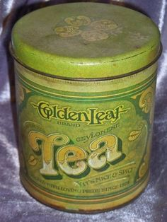 Vintage 1977 Ballonoff R & D CO. Golden Leaf Tea Tin Can