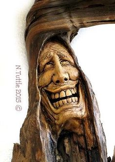 ORIGINAL-WOOD-CARVING-TREE-SPIRIT-FUN-GRATITUDE-HAPPY-LAUGHTER-OOAK-NANCY-TUTTLE
