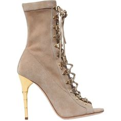 BALMAIN 110mm Ava Suede Lace-Up Boots ($1,927) ❤ liked on Polyvore featuring shoes, boots, ankle booties, heels, beige, high heel boots, heeled booties, lace up ankle booties, suede lace-up booties and beige suede booties
