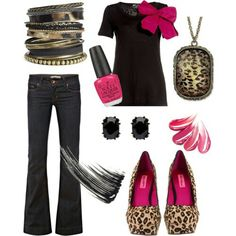 Leopard Black Hot Pink Outfit would really love this with cheetah print boots