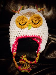 Crocheted owl hat