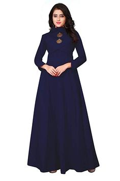 Buy Online Full Sleeve Ankle Length Anarkali Cotton Gown Type Kurti For Women That Offers Trendy & Stylish Look Available at Best Price in India! Gown Party Wear, Cotton Gowns, A Line Kurta, Kurti Patterns, Gown Pattern, Blue Gown, Gowns Online, Fashion Outfits, Womens Fashion