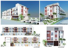 Apartment Plans with 18 Units - Sam House Plans Hotel Apartment, Apartment Plans, Apartments, Home Design Plans, Plan Design, Residential Building Plan, Plans Architecture, Garden Living, Modern House Design