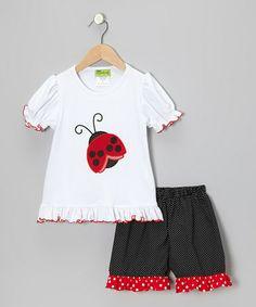 Look at this #zulilyfind! White Ladybug Ruffle Tee & Black Shorts - Infant, Toddler & Girls #zulilyfinds