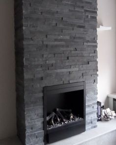 Trendia of Rustico, live best-selling stone in our wikelrustico Living Room Decor Fireplace, Slate Fireplace, Fireplace Remodel, Modern Fireplace, Living Room Flooring, Fireplace Surrounds, Fireplace Design, Castle Stones, Home Beauty Salon
