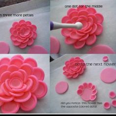 Polymer clay tutorial, but I think I could use fondant.never thought of making a fondant flower out of circle i would like to try this soon. Shawna flower tutorial by Corrie Cakes photo tutorial for three types of flowers. Could work with fondant for Fondant Flower Tutorial, Fondant Flowers, Cake Tutorial, Photo Tutorial, Sugar Flowers, Fondant Flower Cupcakes, Pink Flowers, Edible Flowers, Deco Cupcake