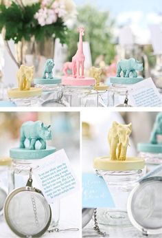 Such a cute baby shower idea: a tea bar! Paint safari animal figures and jar lids pastel colors, and attach tea diffusers to jars so guests can fill jars with their favorite loose tea.   Andrea Patricia Photography