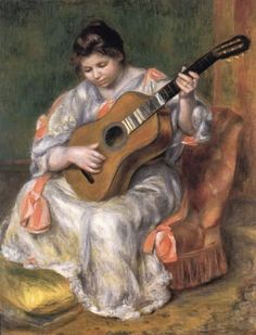 """""""Woman Playing the Guitar"""" by Pierre Auguste Renoir - another painting I saw in person ... I love museums"""