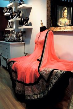 Peach anarkali with broad border