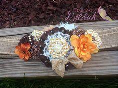 Fall Maternity Sash Brown Orange Maternity by DarlingDelilah777