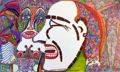 "George Jagiello EMO: ""Stencil Surreal INSANE outsider ART painting,"" Autobiographical drawing under the impact of cancer therapy, approximately 36 x 21.5 cm. Mixed media, pen and felt-tip pens"