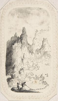 Castles on Mountains  Rodolphe Bresdin  (French, Montrelais 1822–1885 Sèvres) - Pen and black ink on embossed card.