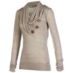 $17.86 Stylish Cowl Neck Long Sleeve Button Design Draped Women's Sweatshirt