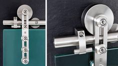 """MWE Klassik (""""Classic"""") - Modern Barn Door Hardware is suitable for single or double bi-parting applications. The rail may be mounted to the wall, ceiling, or stationary glass. Klassik hardware is appropriate for use with both frameless glass and wood doors.  Maximum weight capacity per (2) carriers is 386 Lbs. (2) carriers per door only."""