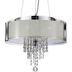 Searchlight 4 Light Ceiling Pendant Light, Chrome Finish With Frosted Glass Panels & Clear Glass Drops - - Pendant Lights - Crystal Pendant Lights Crystal Pendant Lighting, Drum Pendant, Chandelier Shades, Glass Pendant Light, Pendant Chandelier, Ceiling Pendant, Glass Pendants, Ceiling Lights, Pendant Lights