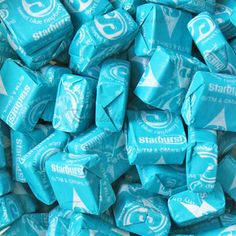 Sweet Raspberry Starburst from Temptation Candy. So sorry Candy Lovers, this… Light Blue Aesthetic, Blue Aesthetic Pastel, Photo Wall Collage, Bedroom Wall Collage, Photo Bleu, Online Candy Store, Everything Is Blue, Blue Food, Blue Pictures