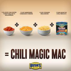 Love this BUSH'S® Beans recipe--can't wait to make Chili Magic® Mac tonight!