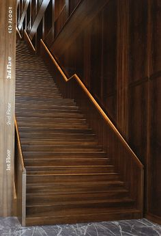 Beautiful wooden staircase as central element inside the Fabrikstrasse 12 building by Lampugnani.