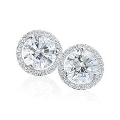 Halo round brilliant diamond earrings studs from Armadani ~ Anniversary right around the corner!