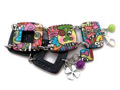 Bracelet street art  chezpajope.etsy.com Street Art, Belt, Bracelets, Accessories, Etsy, Belts, Bracelet, Arm Bracelets, Bangle