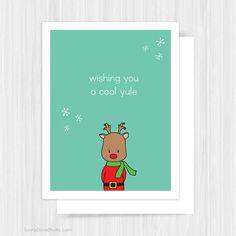 Cute Rudolph Christmas Card by SunnyDoveStudio #christmas #cards #greetingcards #cute #kawaii #rudolph #etsy #handmade