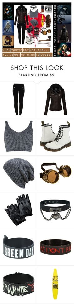 """""""Ticci Toby"""" by laughingjacksdaughter ❤ liked on Polyvore featuring Vila Milano, J.O.A., Dr. Martens, KBETHOS, Hot Topic, NARS Cosmetics, Maybelline and topic"""