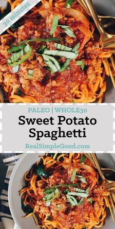 This Paleo and Whole30 sweet potato spaghetti is a nourishing and healthy way to enjoy spaghetti, with extra veggies and greens added in! | realsimplegood.com